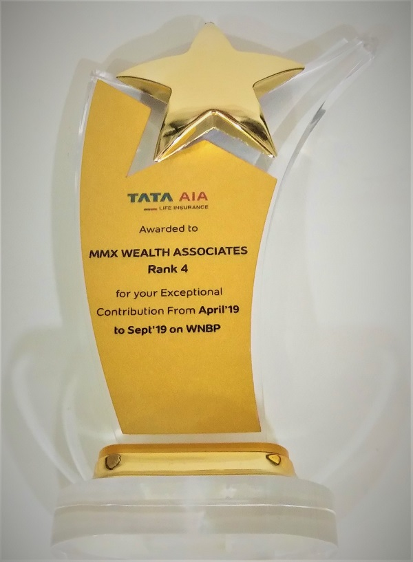 TATA AIA-Achieved Rank 4 contribution in Sept 2019